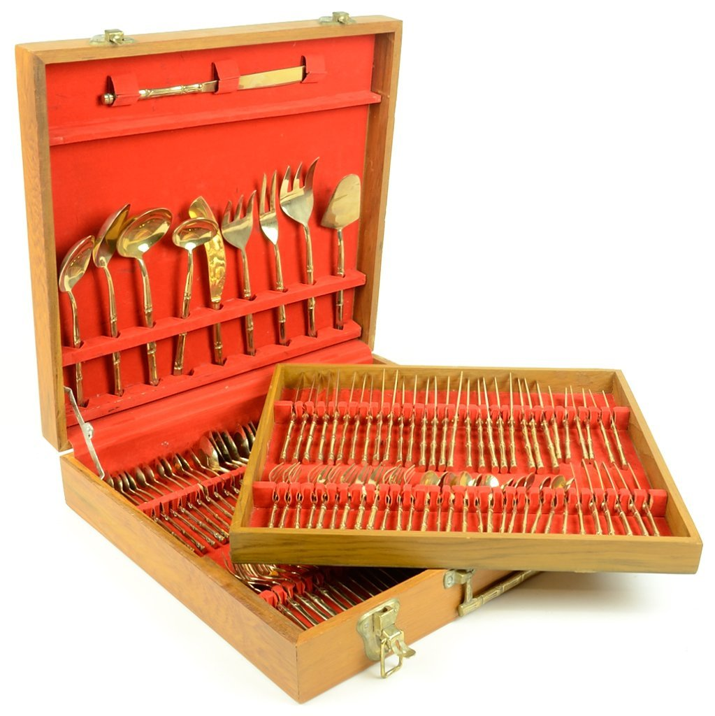 AN ITALIAN GOLD PLATED BAMBOO FORM BOXED FLATWARE