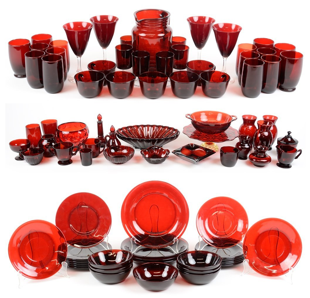 A COLLECTION OF AMERICAN ROYAL RUBY ANCHOR GLASS