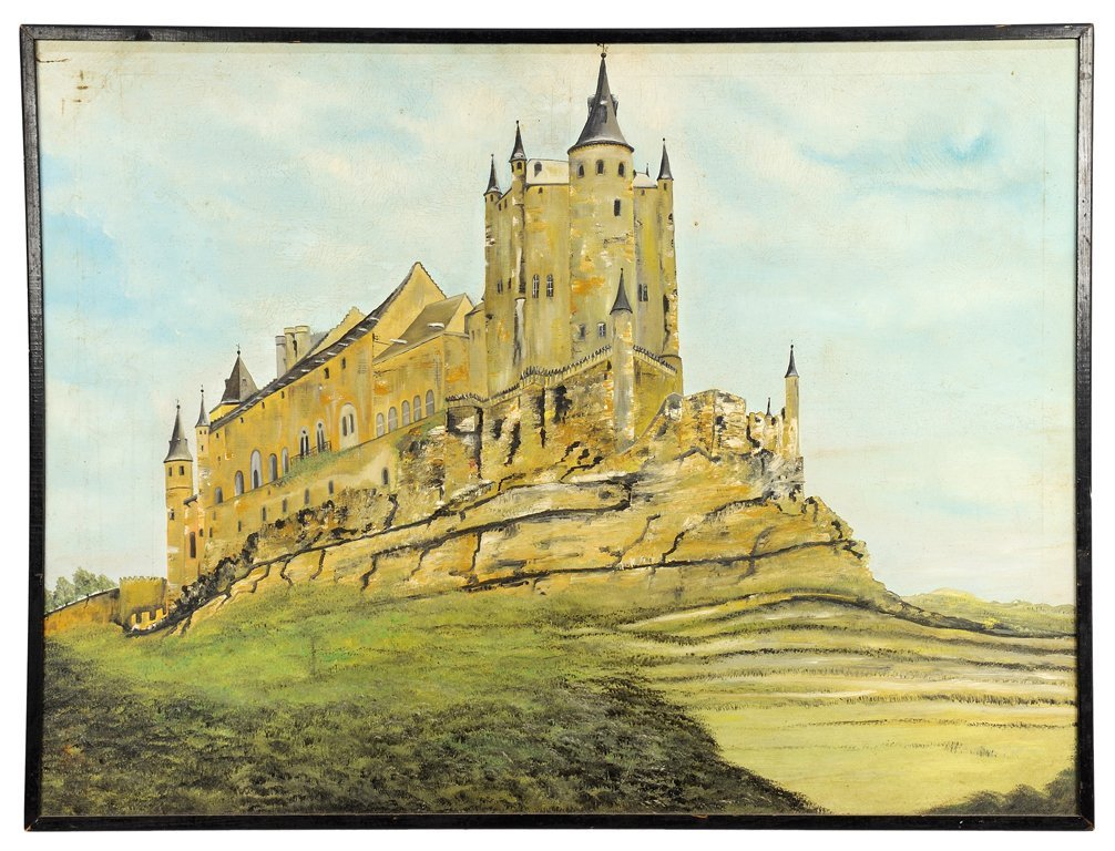 A VINTAGE SPANISH GOTHIC CASTLE ON A MOTTE OIL PAINTING