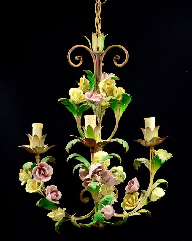 A PAINTED THREE-LIGHT CHANDELIER WITH PORCELAIN FLORAL