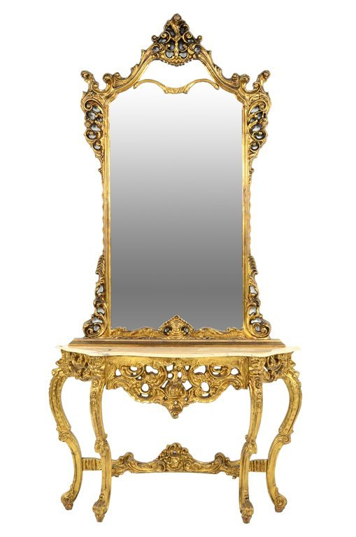 """A ROCOCO REVIVAL STYLE GILT CONSOLE AND MIRROR WITH """"X"""""""