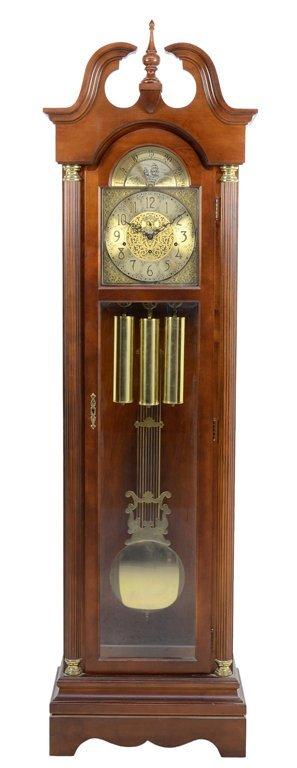A BONNET TOP NAUTICAL THEMED RIDGEWAY GRANDFATHER CLOCK
