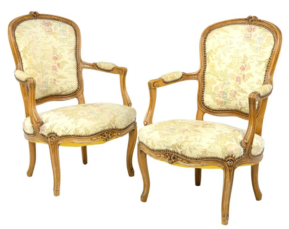 A PAIR OF LOUIS XV STYLE ARMCHAIRS WITH JAPANESE GARDEN