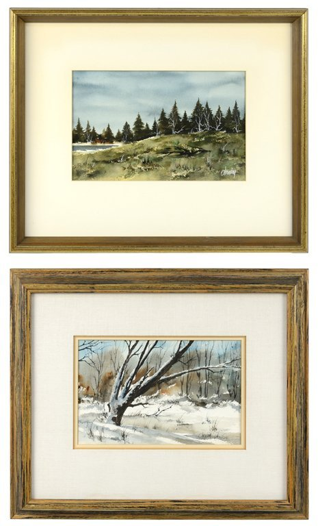 A PAIR OF RUDOLPH OHRNING FRAMED WATERCOLOR LANDSCAPES