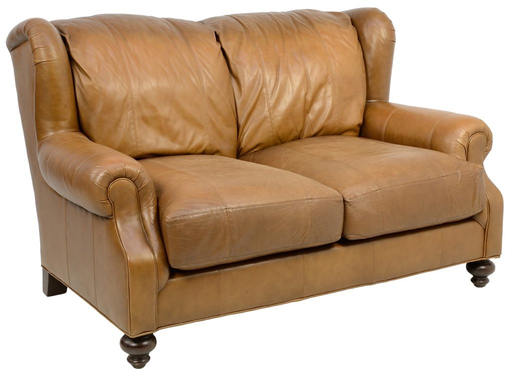 "A ""HENREDON"" LEATHER WINGBACK SOFA FOR TWO"