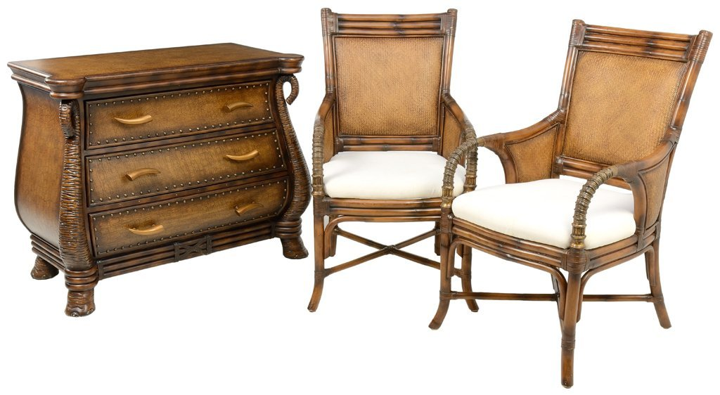 A ELEPHANT SAFARI THEMED CHEST AND PAIR OF CHAIRS WITH