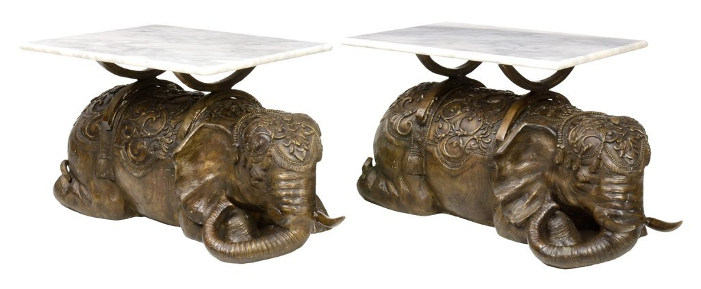 A PAIR OF BRONZE FINISH ELEPHANT END TABLES WITH MARBLE