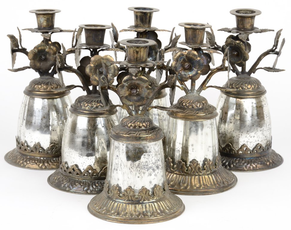 A SET OF SIX SILVER TONE SPANISH COLONIAL STYLE