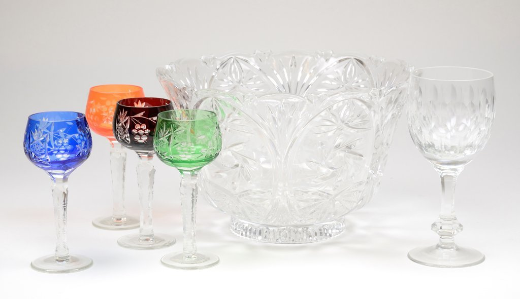 A CZECH AND CUT CRYSTAL STEMWARE AND BOWL COLLECTION