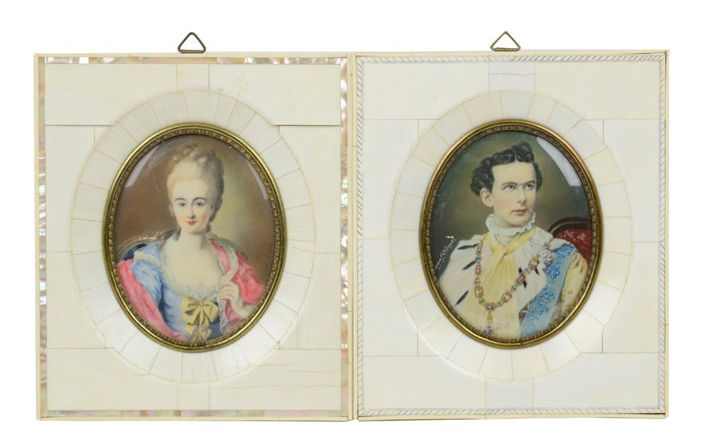 TWO ANTIQUE MINIATURE HAND-PAINTED PORTRAITS INCLUDES B