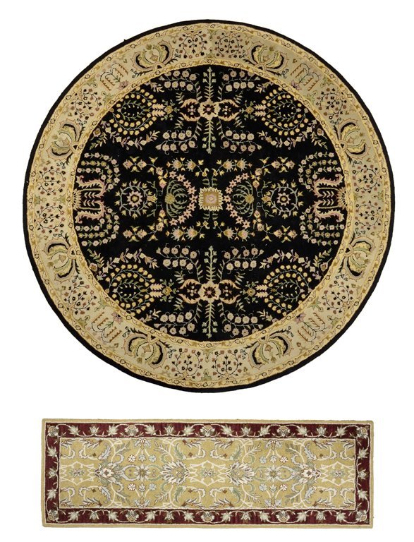 A GROUP OF TUFTED TABRIZ RUGS INCLUDES A ROUND AND