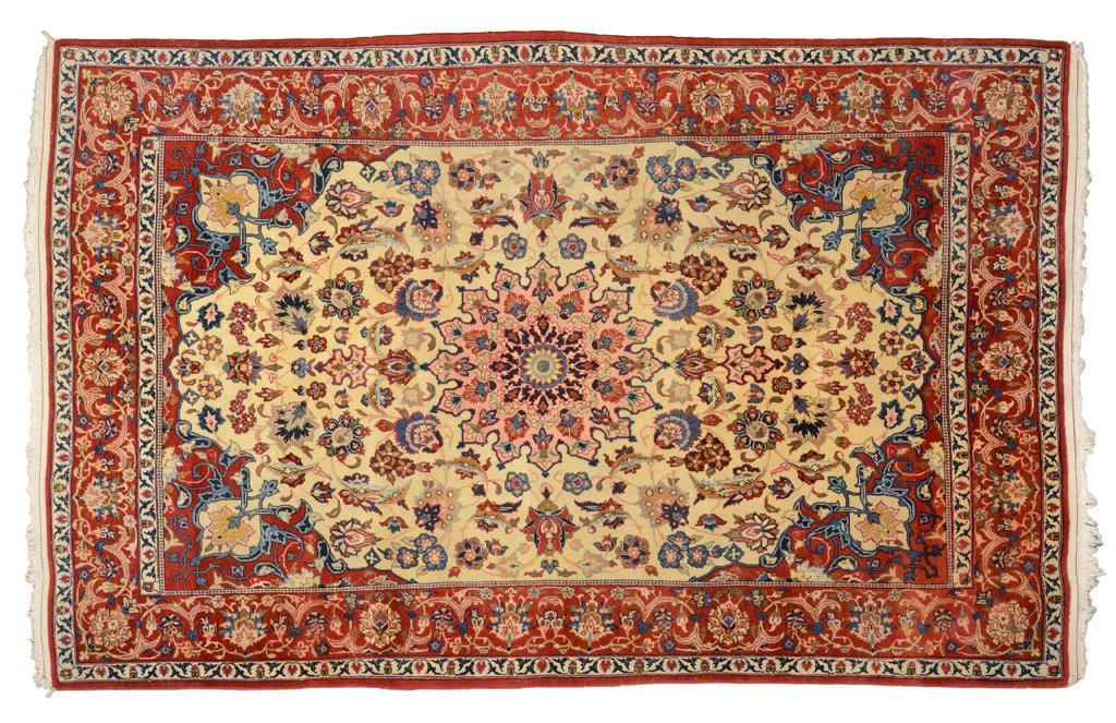 A FINE PERSIAN ESFAHAN SMALL CARPET WITH FLORET