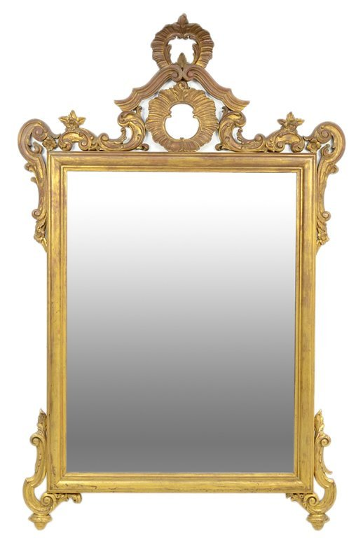 A VINTAGE CARVED GILTWOOD ROCOCO STYLE PIER MIRROR