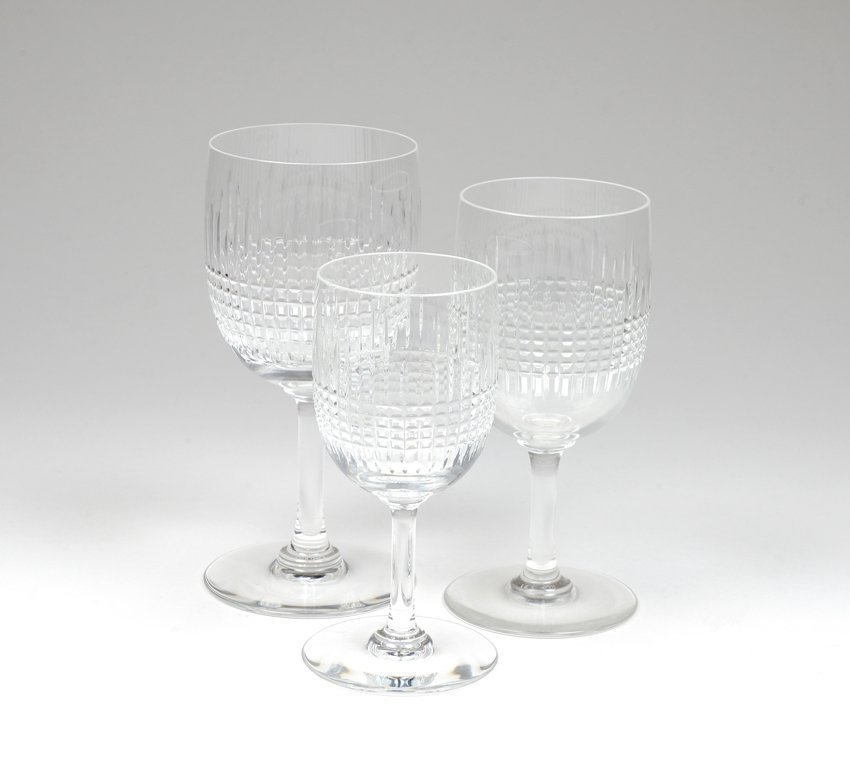 A GROUPING OF 35 PIECES OF BACCARAT CRYSTAL STEMWARE IN