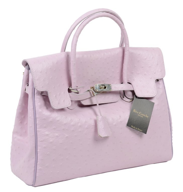 """A PARISIAN EMBOSSED LEATHER """"OSTRICH"""" LADIES' BAG IN"""