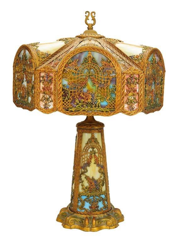 AN ANTIQUE AMERICAN ART NOUVEAU RAINBOW SLAG GLASS