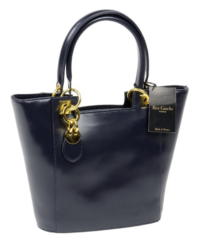 A PARISIAN LEATHER LADIES' TOTE, IN DEEP NAVY, BY RIVE
