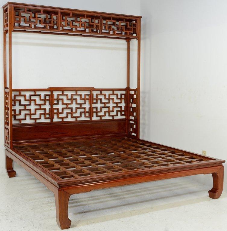AN ASIAN STYLE HARDWOOD CANOPY HEADBOARD BED - 2