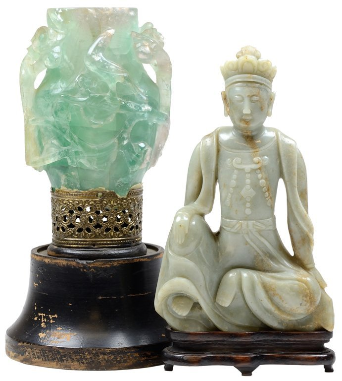 A CARVED NEPHRITE JADE SUNG DYNASTY-STYLE FIGURE AND A