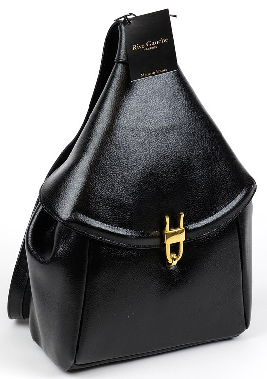 A LADIES PARISIAN LEATHER TRAVEL BAG IN DEEP NOIRE BY
