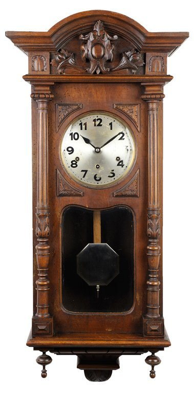 A FRENCH VICTORIAN STYLE REGULATOR WALL CLOCK WITH