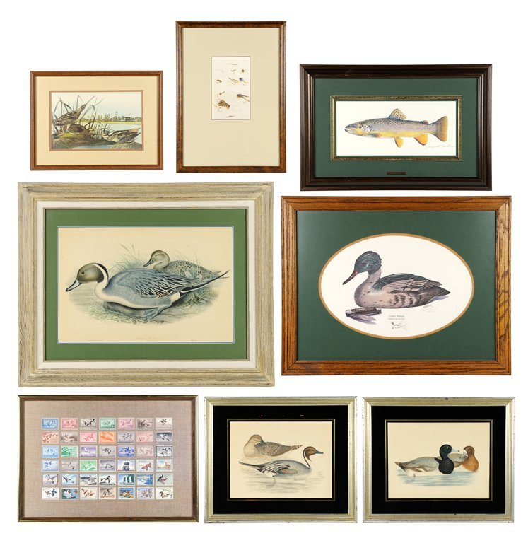 A COLLECTION OF EIGHT PIECES OF FISH AND FOWL THEMED