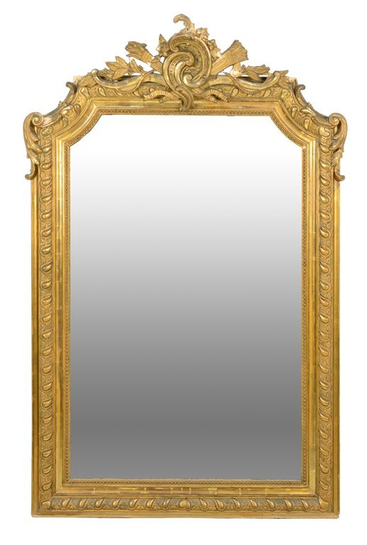AN ANTIQUE FRENCH EMPIRE STYLE GILT PAINTED HALL MIRROR