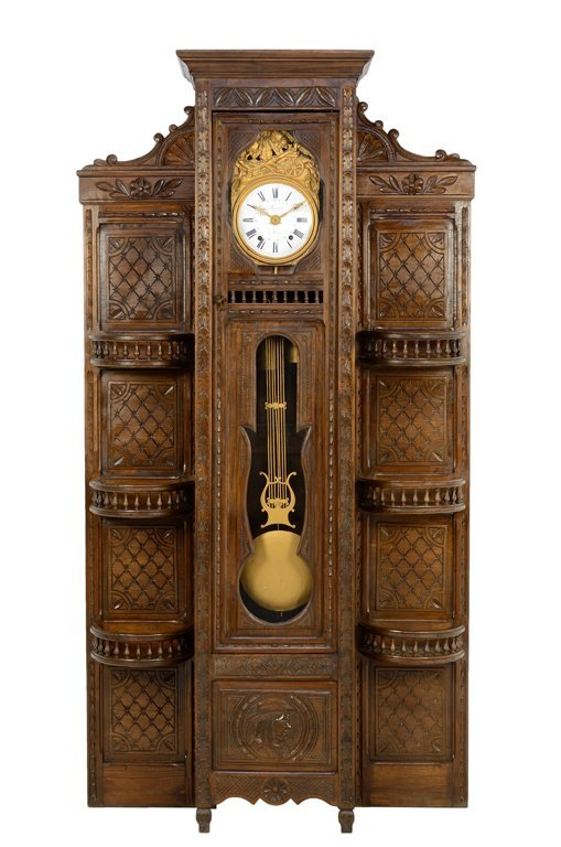 A FRENCH NORMAN BRITTANY LONGCASE PENDULUM CLOCK WITH