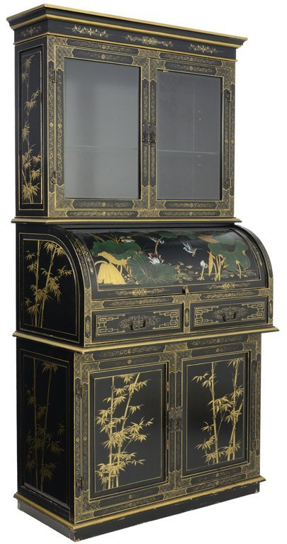 A CHINOISERIE STYLE EBONIZED AND PAINTED ROLL TOP
