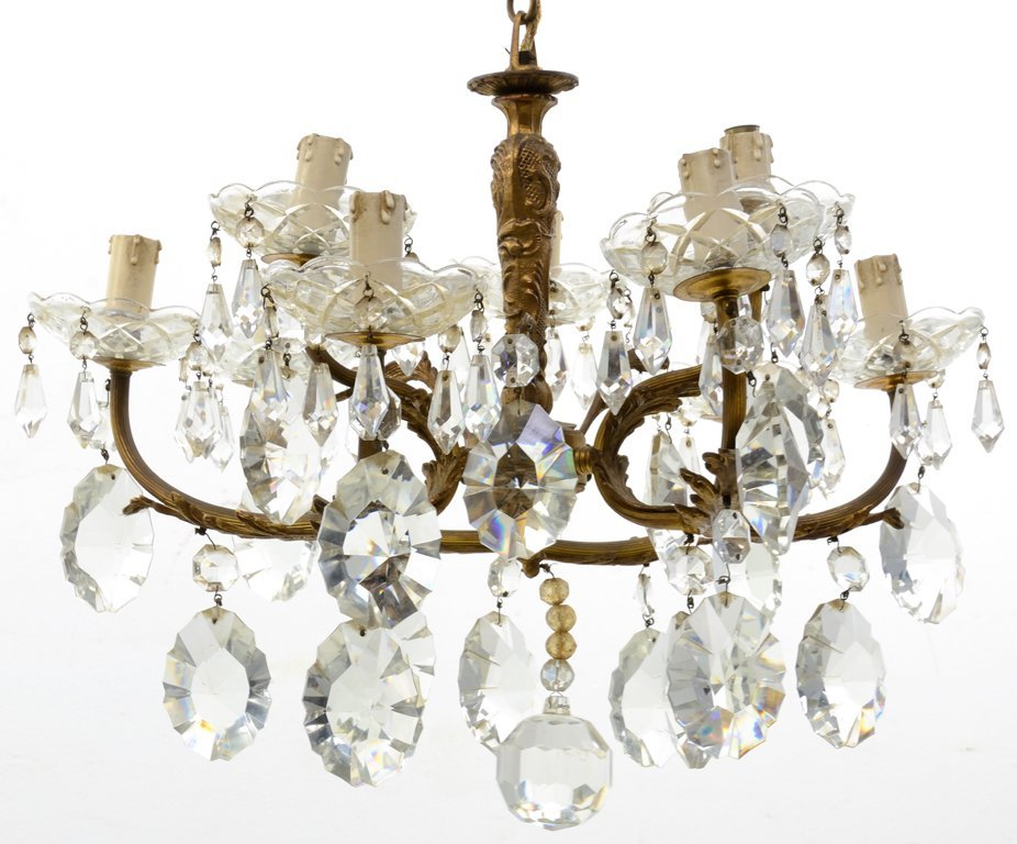 A FRENCH GILT BRASS AND CUT CRYSTAL CHANDELIER