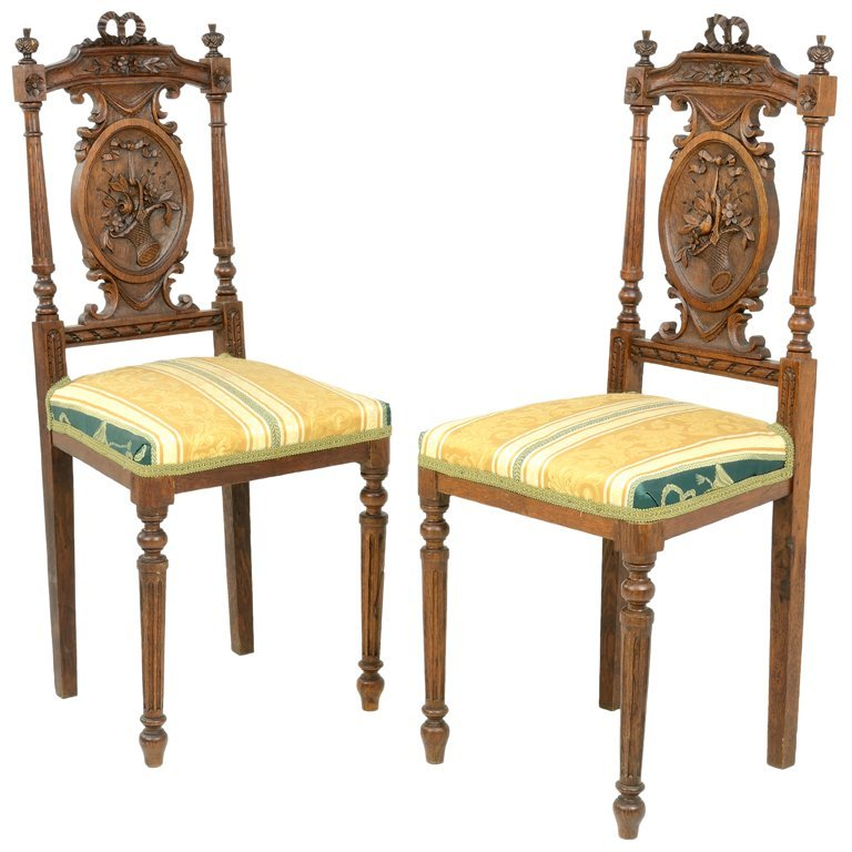 A PAIR OF FRENCH VICTORIAN EMPIRE STYLE VANITY CHAIRS