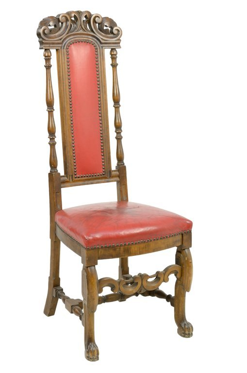 AN ITALIAN GOTHIC RED LEATHER UPHOLSTERED HIGH-BACK