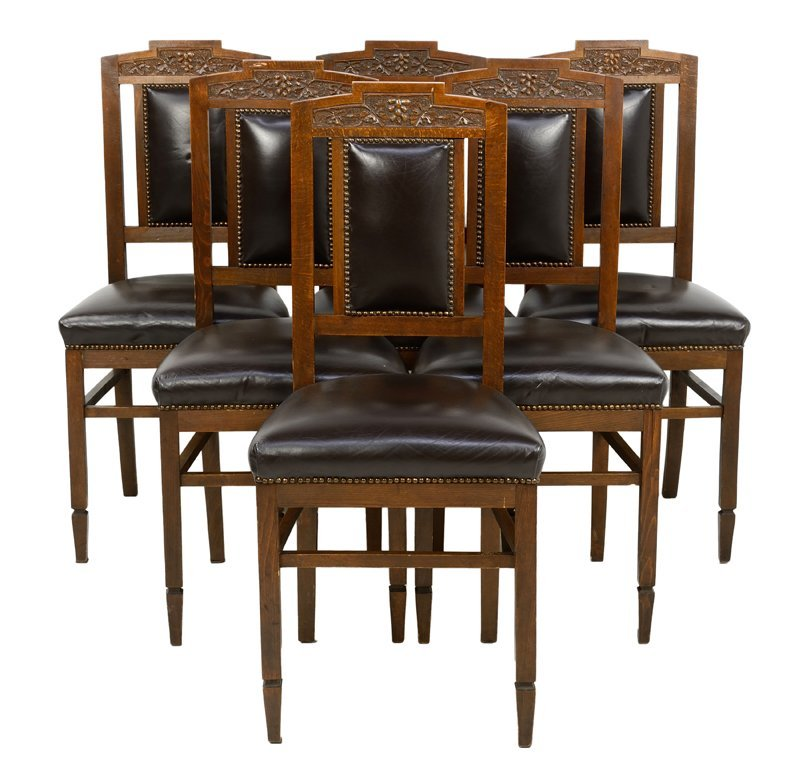 A SET OF SIX ITALIAN ART DECO LEATHER COVERED SIDE