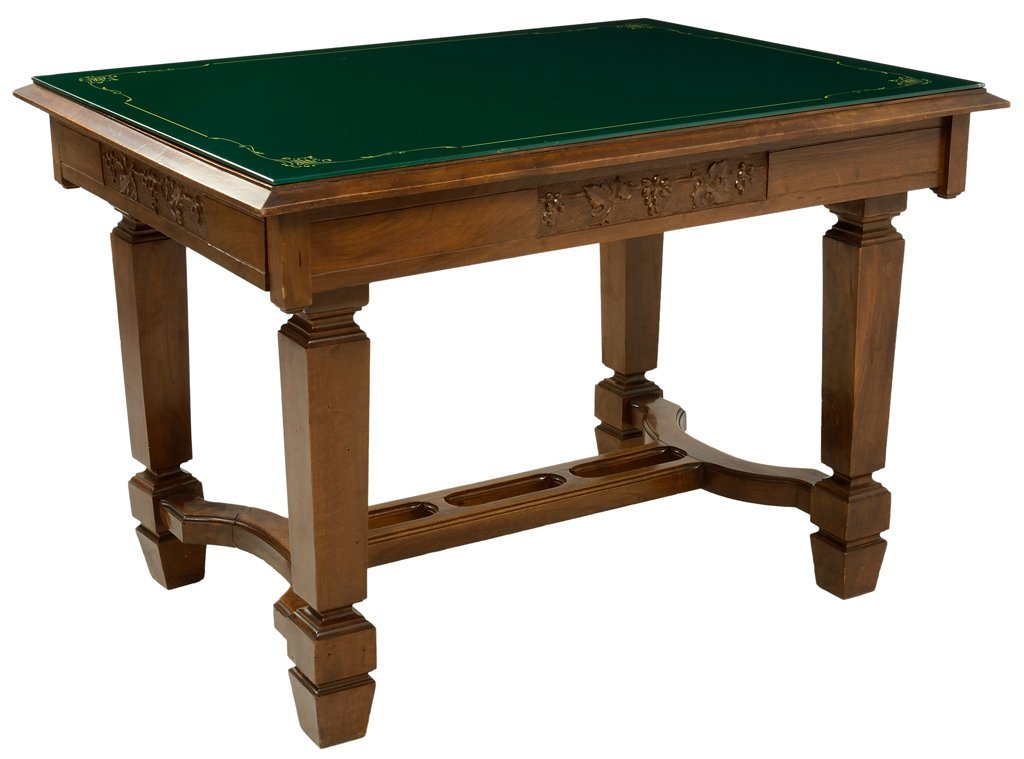 AN ITALIAN ART DECO STYLE TABLE WITH GREEN GLASS TOP