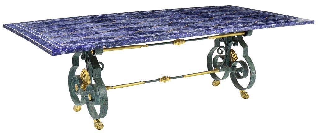 A FINE LAPIS LAZULI ENCRUSTED DINING TABLE WITH