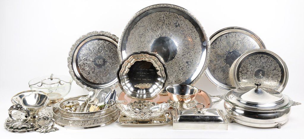 A LARGE GROUP OF SILVER PLATE SERVING PIECES
