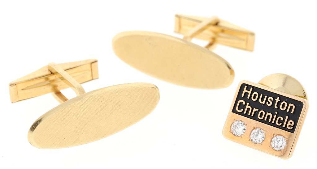 14KT GOLD CUFF LINKS & HOUSTON CHRONICLE PIN