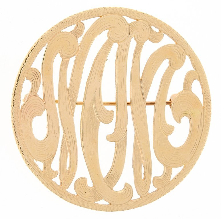 ORNATE 14KT GOLD MONOGRAM BROOCH