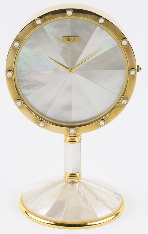 FRED JEWELERS MOONSTONE CLOCK