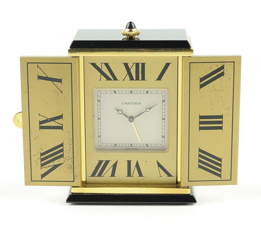 CARTIER PARIS VERMEIL AND ONYX TRAVEL CLOCK
