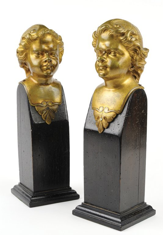 PAIR OF ORMOLU PUTTI HEAD GARNITURE