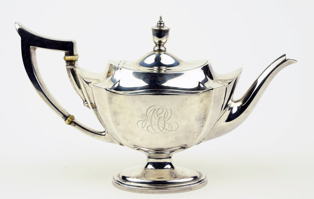 """A GORHAM """"PLYMOUTH"""" STERLING SILVER TEAPOT WITH IVORY"""