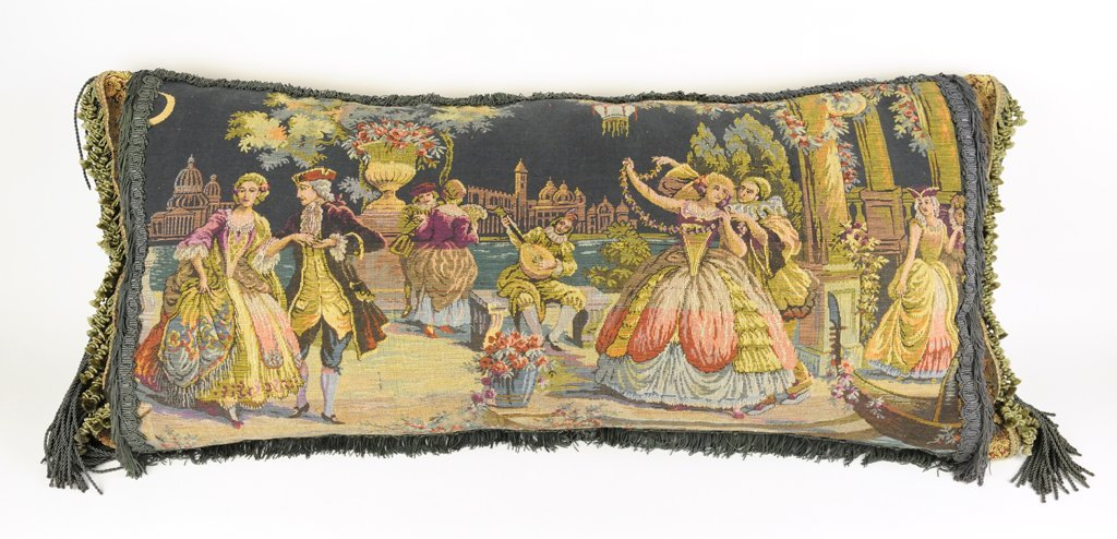 AN ANTIQUE ROCOCO STYLE EMBROIDERED TAPESTRY PILLOW