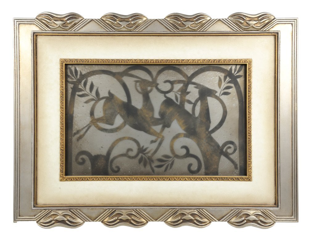 A STAG THEMED ART GLASS PIECE IN A SILVER TONE FRAME