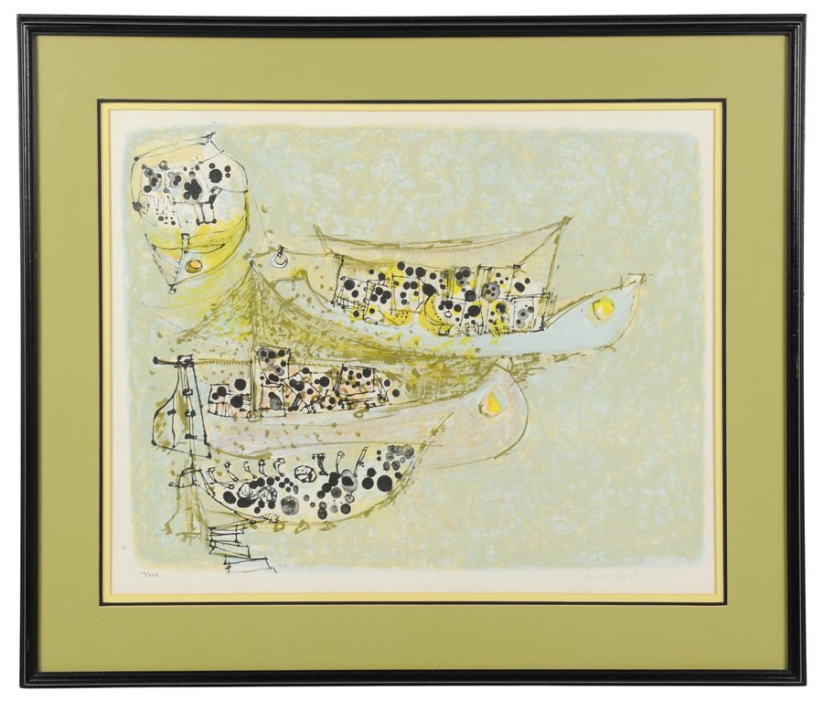 A SIGNED ABSTRACT SEASCAPE FINE ART LITHOGRAPH