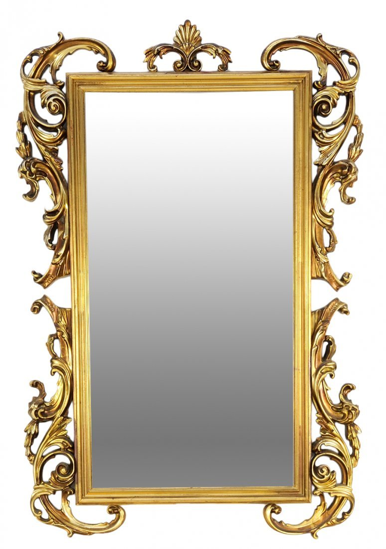 A VENETIAN ROCOCO STYLE GILT PAINTED MIRROR WITH