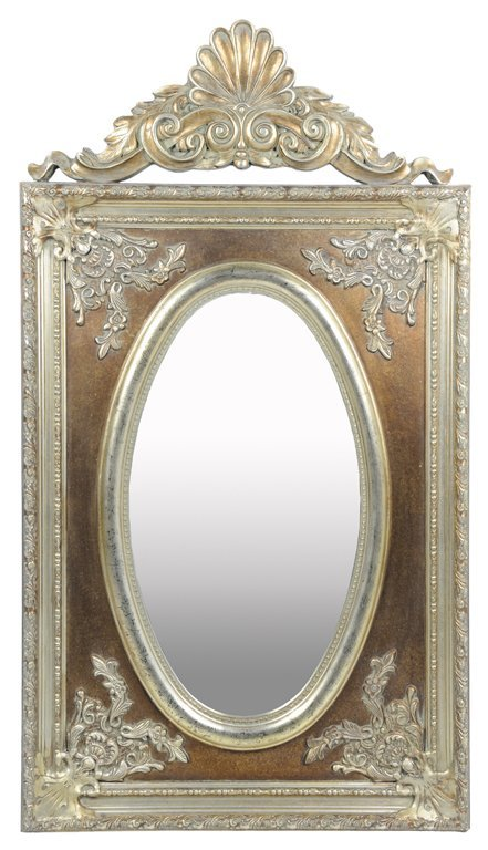 A SILVER GILT PAINTED ROCOCO STYLE MIRROR WITH CARVED