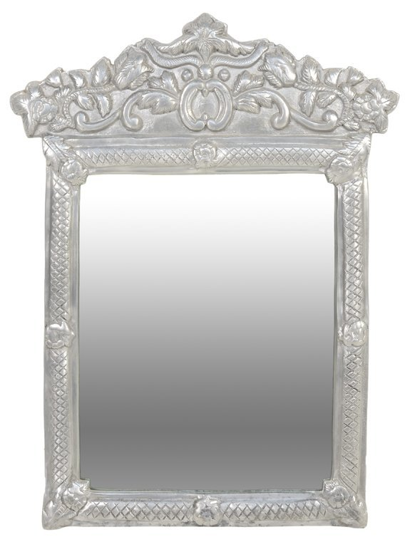 A SILVER TONE REPOUSSE MOROCCAN STYLE MIRROR WITH