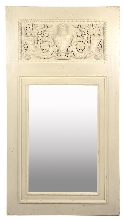 A WASHED AND CARVED PIER MIRROR WITH URN AND FLOWERING