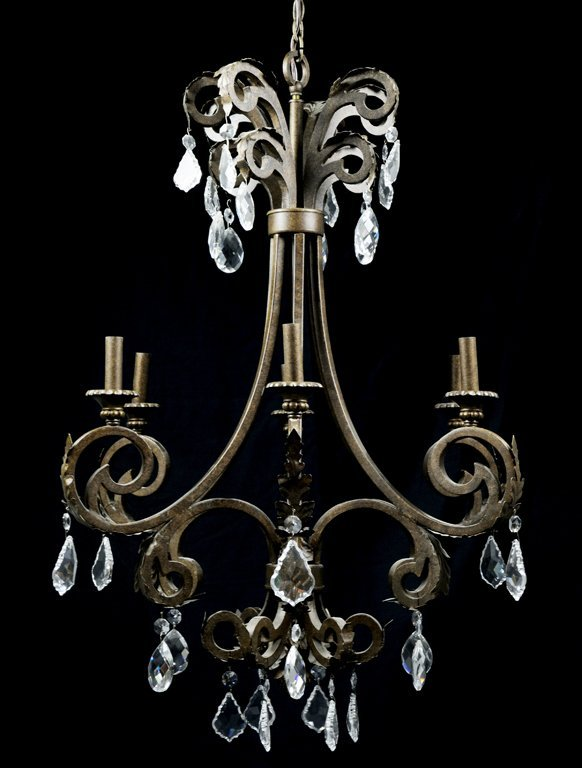 A LOUIS XV STYLE BRONZE FINISH AND FACETED CRYTAL SIX